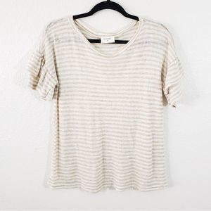 Everly Cream Striped Ruffle Sleeves Top Size S